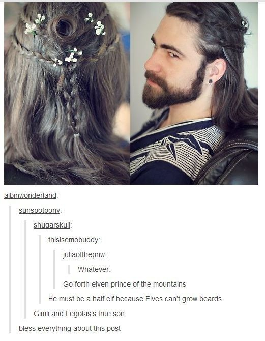 "When this guy's beautiful hair and beard were too much to handle. | Literally Just A Bunch Of Really Funny ""Lord Of The Rings"" Tumblr Posts"