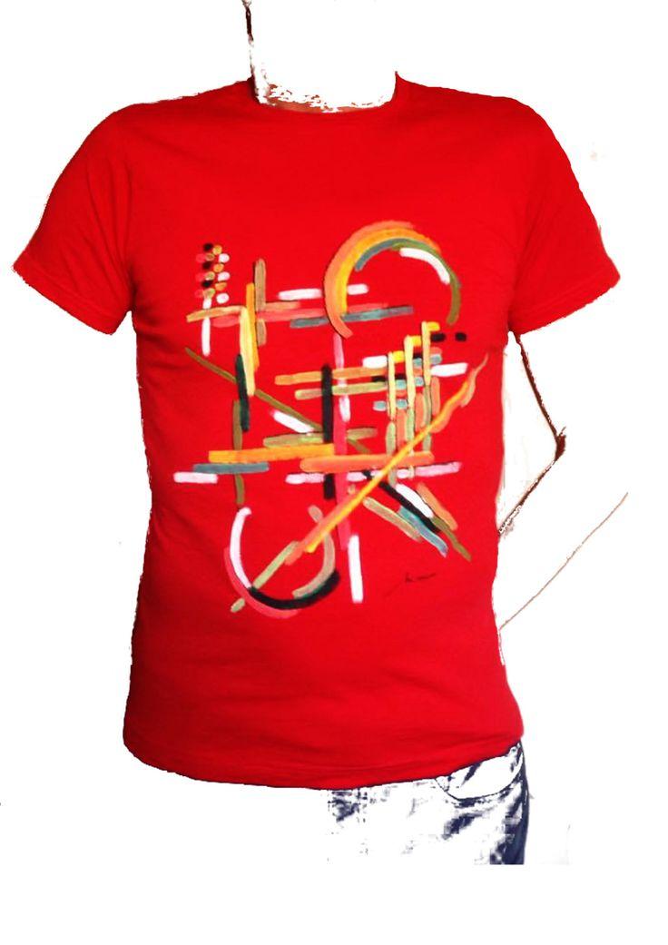 t shirt rossa dipinta a mano di SACROSANCTA su Etsy