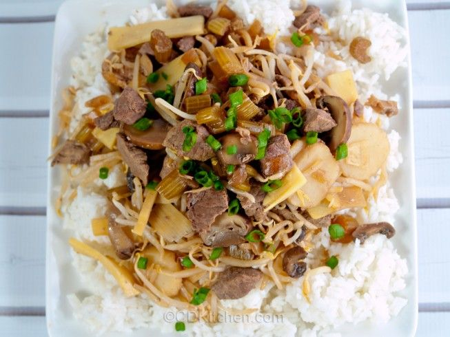 American-Style Chop Suey - CDKitchen.com -  A combination of beef and pork is slow cooked with onion, celery, water chestnuts, bean sprouts, mushrooms, and bamboo shoots. Serve over rice or your favorite Asian-style noodles.