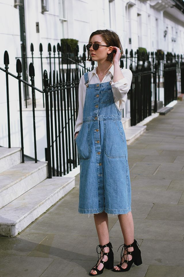 We love this trendy look for the season: Twin a denim dungaree dress with a white shirt and rounded sunglasses. #triumphlingerie #ss16 #triumphswimwear