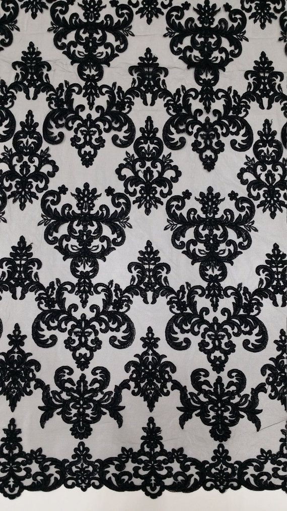 Black lace fabric, Embroidered lace, French Lace, Wedding Lace, Bridal lace, White Lace, Veil lace, Lingerie Lace, Alencon Lace by the yard