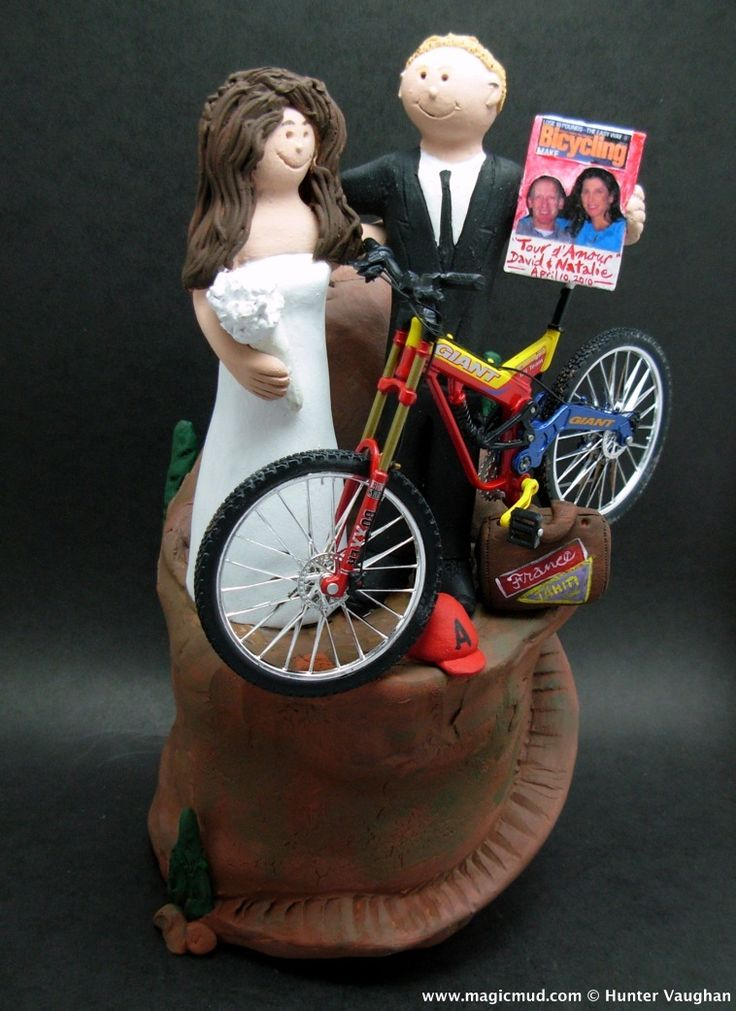 Mountain Biker's Wedding Cake Topper by http://www.magicmud.com   1 800 231 9814  magicmud@magicmud.com  http://blog.magicmud.com  https://twitter.com/caketoppers         https://www.facebook.com/PersonalizedWeddingCakeToppers  #bicycle#bike#cyclist#mountain_bike#wedding #cake #toppers  #custom #personalized #Groom #bride #anniversary #birthday#weddingcaketoppers#cake toppers#figurine#gift#wedding cake toppers