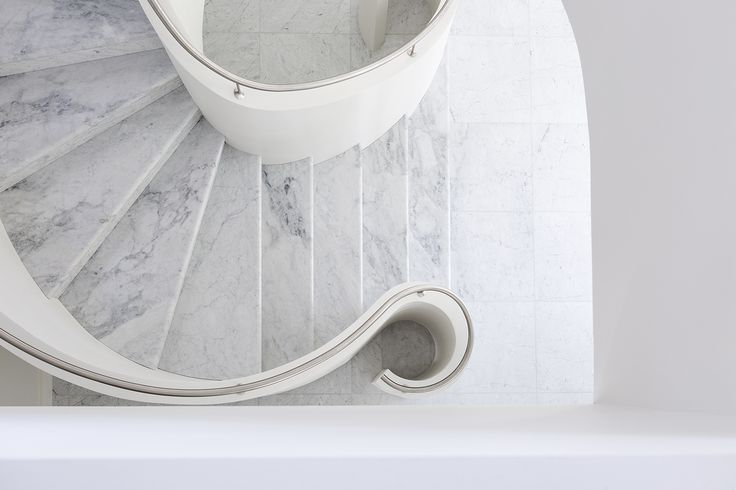 Marble Wall Plaster : Curved stair plaster walls marble treads stainless