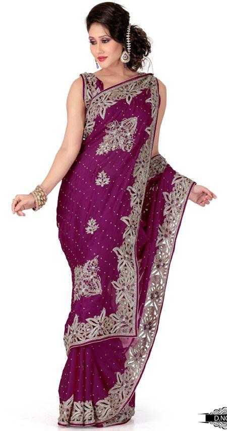 Dark Megenta Color Satin Chhiffon Indian Saree TYS159. Sale : $275.50