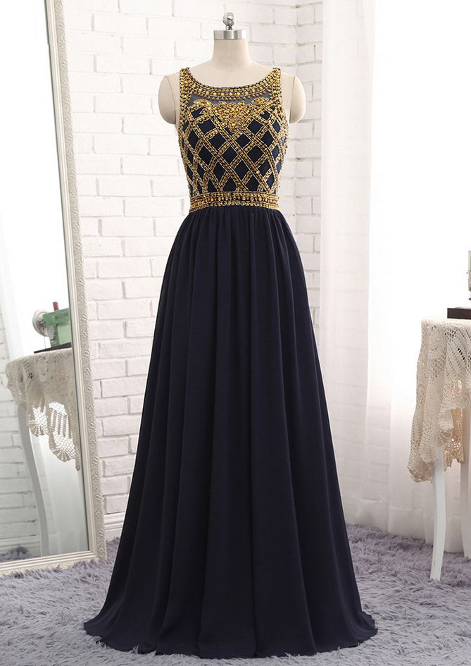 New Long A-line Navy Blue Chiffon Gold Beads Evening Dresses Straps Hot Luxury Sweet 16 Prom Party Gowns