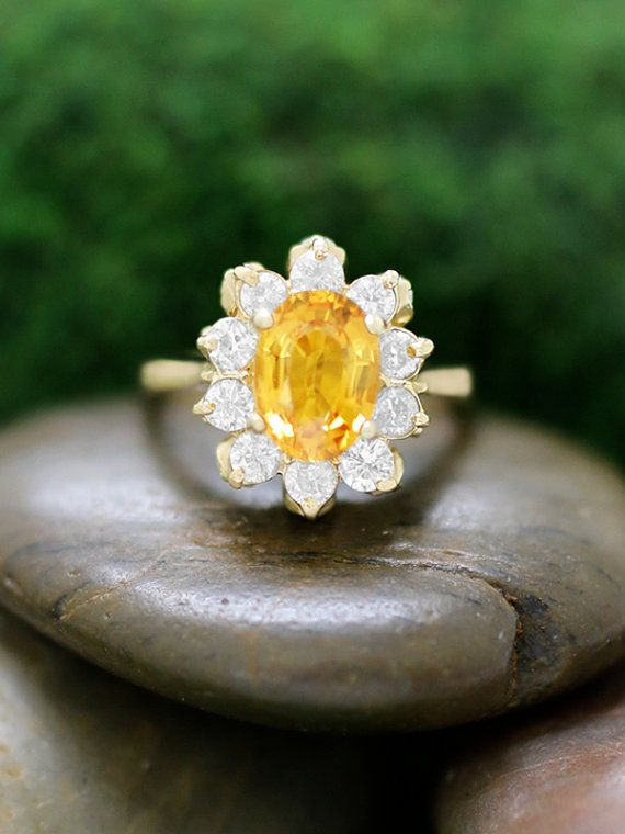 Natural Yellow Sapphire and Diamond Ring- 14K Solid Yellow Gold (Free Shipping)