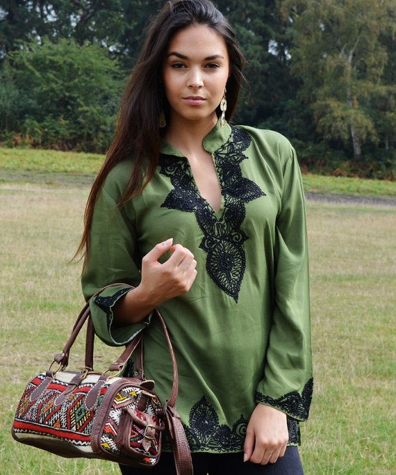Moss GreenTunic with Black Embroidery-Salma Style-Perfect as birthday gifts, resort wear, casual wear, autumn fashion, gifts