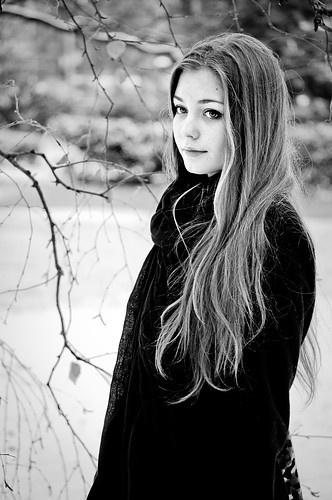 Winter portrait in blck and white