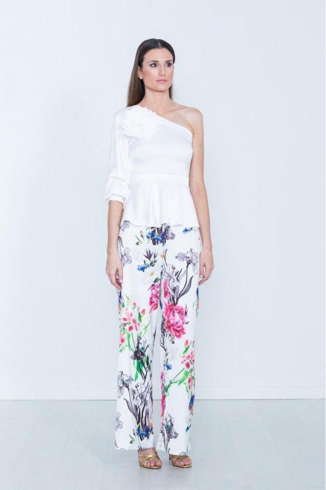 f2cc600968 Pantalon tipo palazzo con estampado de flores con fondo en color blanco o  en verde agua