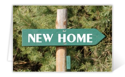 Change of address card New Home sign