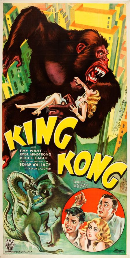 """Ladies and Gentlemen, before I tell you any more, I'm going to show you the greatest thing your eyes have ever beheld. He was a king and a god in the world he knew, but now he comes to civilization...Ladies and Gentlemen, look at Kong, the Eighth Wonder of the World."" King Kong (RKO, 1933). Three Sheet (40.25"" X 79"") Style B."