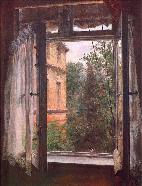 Adolf von Menzel (Polish/German, 1815-1905) - View from a window in the Marienstrasse (1867)    Gouache over chalk