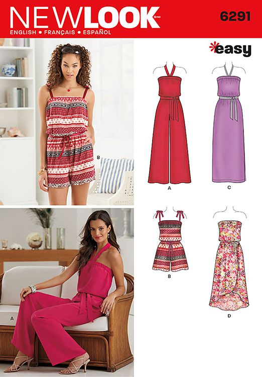 Misses Jumpsuit and Dress in Two Lengths New Look Pattern No. 6291. Size 4-16.