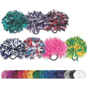 Mini Pom Pom Hair bands from  http://www.schoolspiritstore.com/school-spirit-and-cheer-ideas/