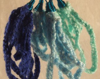 Dark blue, pantone light blue and aqua crocheted earrings! €7.80 + shipping  buy 3 get 1 for free