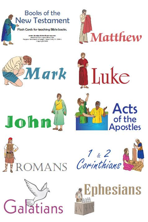 Books of the Bible Flash Cards:  Use for games, or adding to a poster as your student learns the names.