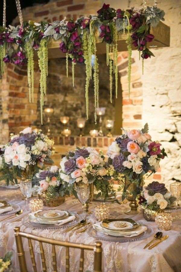 centros de mesa colgantes para bodas con luces cintas original