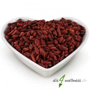 Goji-Beeren getrocknet - Die Wunderfrucht , 500g  Goji-Beeren sind kleine rote Früche mit vielen Vitaminen und Mineralstoffen.