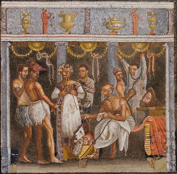 Mosaic depicting the choregos and tragic actors from the tablinum in the House of the Tragic Poet in Pompeii.