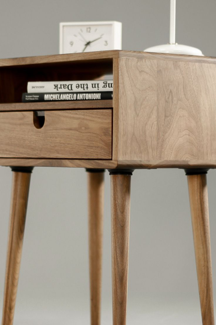 bed side furniture. walnut midcentury scandinavian bedside table by habitables bed side furniture