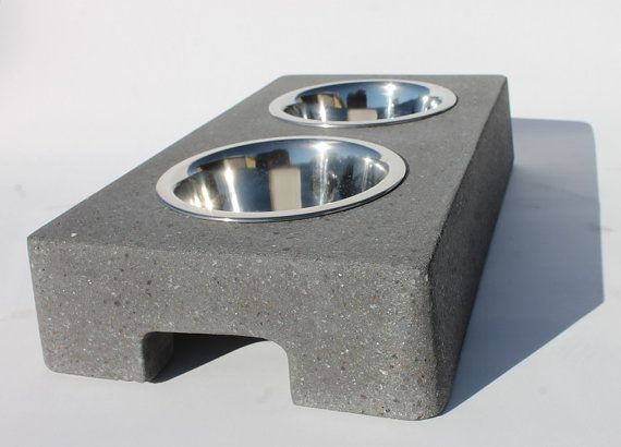 Concrete Dog Bowl Feeding Stand - Small