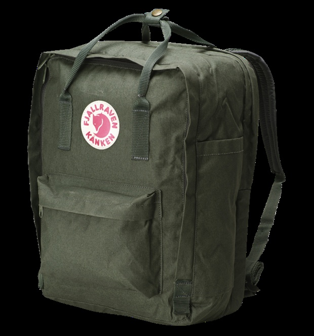 "fjallraven kanken 17"" backpack. durable, comfortable. i want a fjallraven backpack in every color and size."