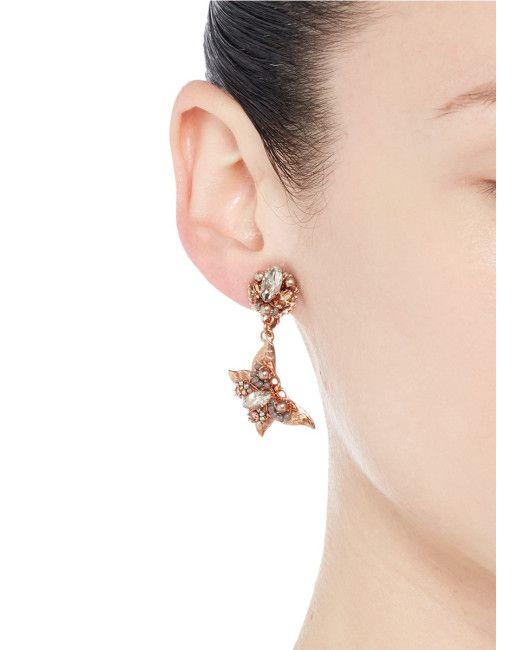 Miriam Haskell    Rosa di Cristallo e perla farfalla orecchini di clip    Lyst