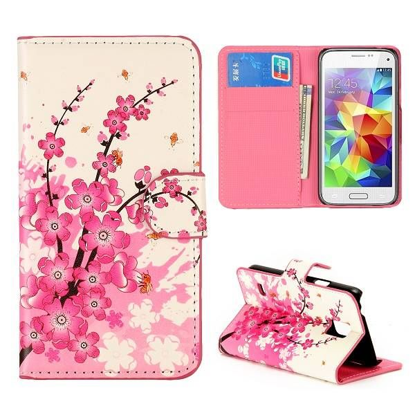 Roze bloesem bookcase hoes voor Samsung Galaxy S5 mini