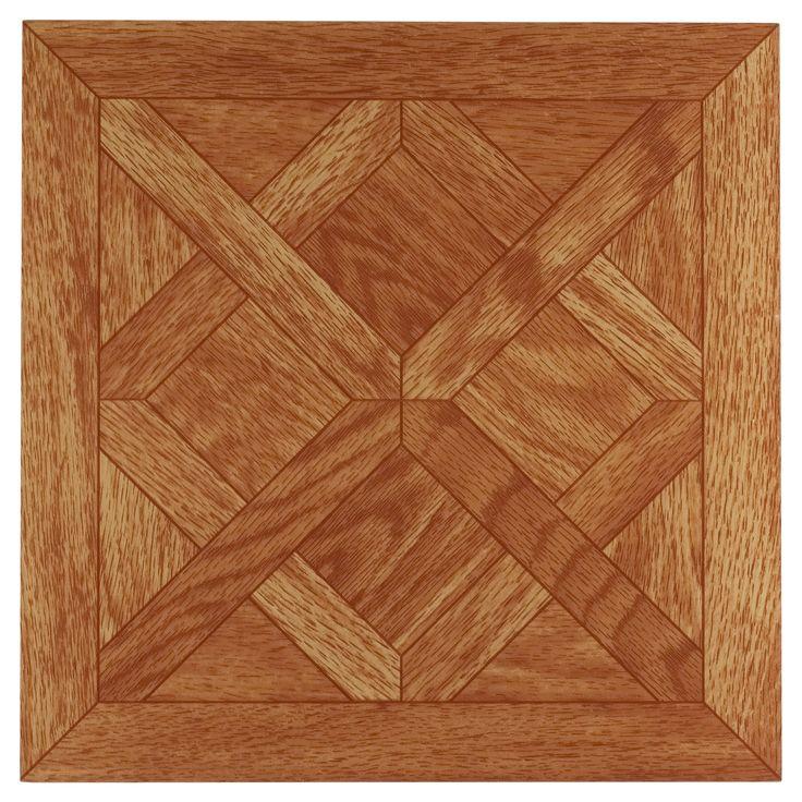 "Tivoli Self Adhesive Vinyl Floor 45 Tiles -Classic Parquet Oak - (12""X12"") - Achim, Black/White"