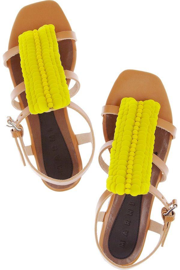 : Summer Sandals, Cute Shoes, Marni Sandals, Fashion Accessories, Neon Sandals, Leather Sandals, Marni Yellow, Yellow Marni, Neon Yellow