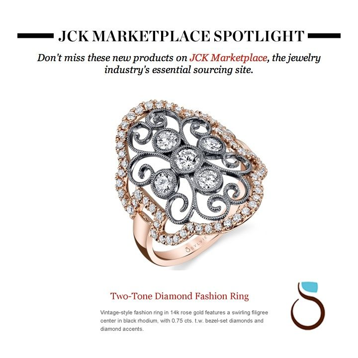 Sylvie's vintage two-tone #rosegold and black rhodium #diamond #fashionring was just featured in JCK Marketplace Spotlight, the #jewelry industry's essential sourcing site.