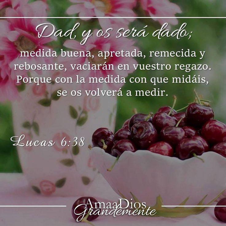 Lucas 6:38 Dad, y se os dará; medida buena, apretada, remecida y rebosando darán en vuestro regazo; porque con la misma medida con que medís, os volverán a medir.♔