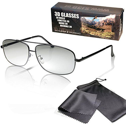 """From 9.90 3d Movie Glasses Black Aviator Style High Quality - For Reald Cinema Use And Passive 3d Tvs Such As Lg """"cinema 3d"""" And Philips """"easy 3d""""- Circularly Polarized - With Pouch And Cleaning Cloth"""