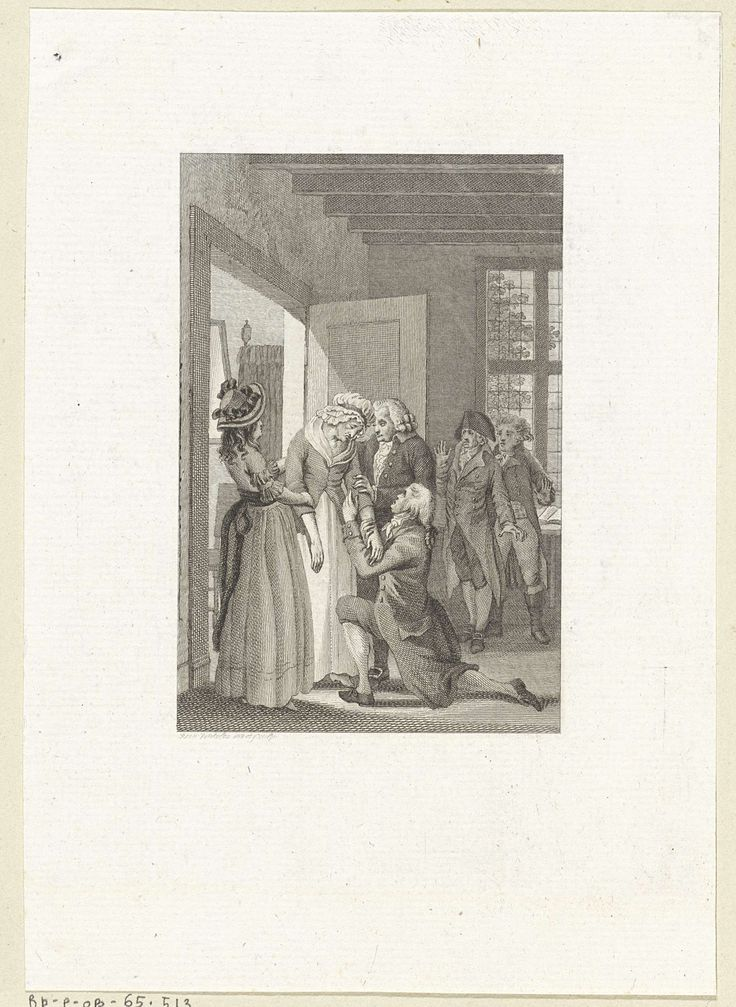 Reinier Vinkeles | Man knielt voor zijn vermoeide moeder, Reinier Vinkeles, 1796 |