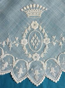 Антикварные мелко вышитые свадебный платок-ландыш, корона   eBay