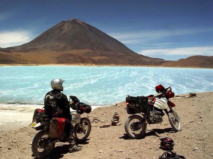 Bolivia. Laguna Verde + Licancabur volcano.