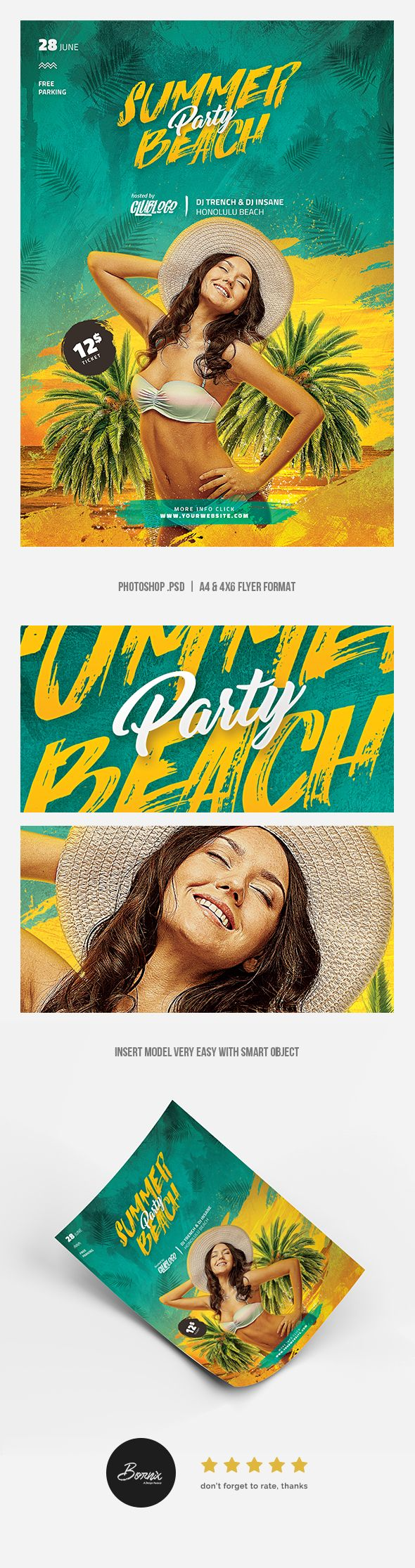 Summer Beach Party Photoshop PSD flyer template https://graphicriver.net/item/summer-beach-party-flyer/20068002 #graphicriver #flyer #poster #template #photoshop #psd #summer #holidays #party #beach #model #bikini #sexy #hot