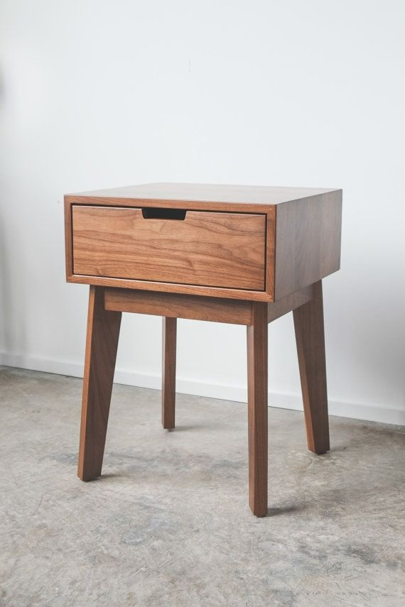 Ventura Night Stand - Solid Walnut Tapered Leg Nightstand - Bedside ...