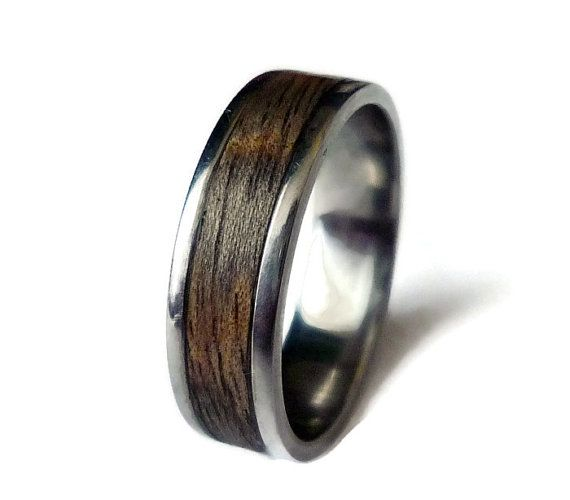 Titanium Ring Mens Titanium Wedding Band Wooden by ringordering