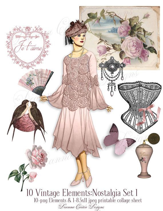 Victorian clipart Valentines day clipart 8.5x11 by DeannaCartea