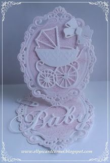 Elly's Card- Corner, Easel card for baby girl with baby carriage