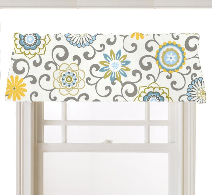 Kitchen Curtains Yellow And Gray: Window Topper Valance