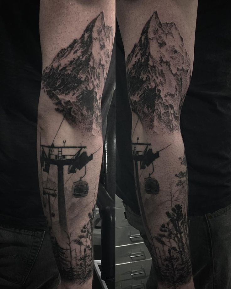 Dotwork sleeve with mountain and forest. Tattoo by Alex Oberov