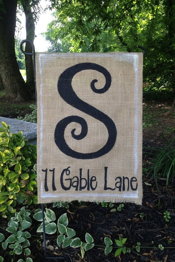 burlap garden flag with monogrammed initial and street address via etsy