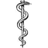 O bastão de Esculápio, uma cobra enrolada num cajado, símbolo da medicina, originou-se na antiga Mesopotâmia há cerca de cinco mil anos. A cobra representa, devido sua capacidade de trocar a pele, a renovação, a mestria no renascimento. A serpente é respeitada como imagem de sabedoria, pois tanto tem poder de curar ou matar. O bastão representa o centro do mundo, a árvore da sabedoria na qual a serpente se enrolou para oferecer a maçã do conhecimento do bem e do mal para Eva.