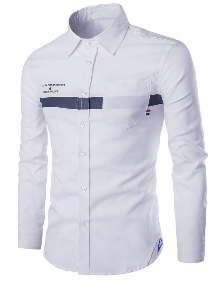 Yesfashion Men's Oxford Letter Printing Long Sleeve Shirt White M - Shirts - Men