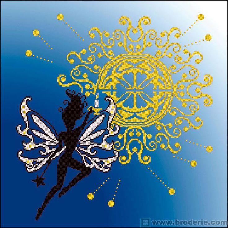 Kit point de croix - Tableau le soleil - Princesse | La maison du canevas, Broderie point de ...