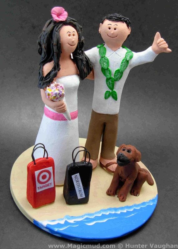 Bride and Groom on Beach with Dog, Destination Wedding Cake Toppers, Custom Made Beachside Wedding Cake Topper - Hawaiian Wedding Cake Topper    This photographed listing is but an example of what we will create for you....simply email or call toll free with your own info and pictures of yourselves, and we will sculpt for you a treasured memory from your wedding!     $235 #magicmud 1 800 231 9814 www.magicmud.com