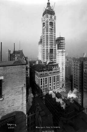 NY Architecture Images- Gone-Top 10 demolished- Singer Building/ Tallest building in the world, 1908-1909    architect  Ernest Flagg location  Broadway and Liberty Street date  1906-1908, demolished 1968. style  Second Empire Baroque construction  steel frame, limestone trim, red brick type  Office Building