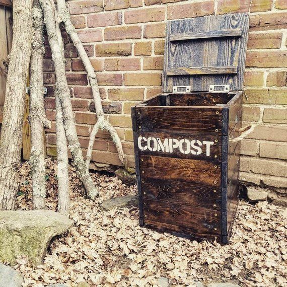 Reclaimed Wood Compost Bin Scrap Box Trash Crate Gardening Green Eco Gift Recycled Permacultur Compost Compost Bin Wooden Compost Bin